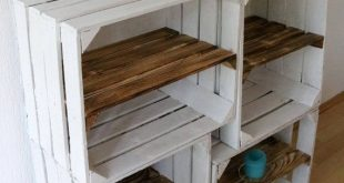 Set of 4 old white OBSTKISTE vintage shoe shelf wood box with clipboard Apple Box + Intermediate floor Shabby chic rustic