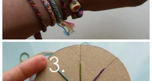DIY Woven Friendship Bracelet Using a Circular Cardboard Loom. Very easy, cool j...
