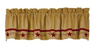 Details about New Primitive Country RED APPLIQUE STAR BERRY VINE Cotton Burlap Curtain Valance