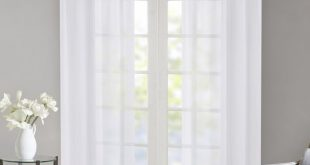 Kater Twisted Voile Solid Color Sheer Tab Top Curtain Panels