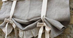 Leinenvorhänge gekräuselte Landküche binden Valance rustikale natürliche Flachs Leinen Fenster Französisch Land Bauernhaus Wohnzimmer Rüschen Vorhang