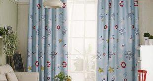 Modern Max Blackout Curtain Blue Paddle Printed Curtain Bedroom Kids Room Curtai...