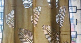 Brown Leaves Organdy Cotton Curtains - Boho Curtains - Sheer Draperies - Long Curtains