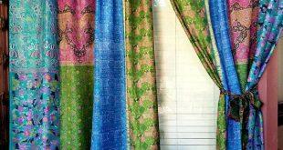 Boho Curtains Sari Saree Patchwork BLUE Light Gypsy Bohemian Curtain HippieWild India Silk Boho Hippie Hippy multicolor IN STOCK ships today
