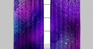 Boho Purple Pink Teal and Blue Mandala Curtains