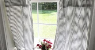 Classic ticking Stripe Cafe curtains. black white stripe valance. Light Pink grey ONE valance. 2 panels Curtains. Valance. Window Valance