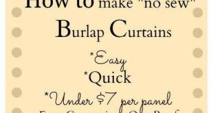 How to make Burlap Curtains DIY Burlap Curtains No Sew Curtains using Stitch Wit...