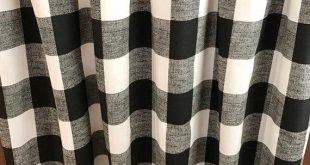 Pair Black/White Modern Farmhouse Buffalo Check Plaid Curtains