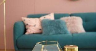 Wohnzimmer rosa Smaragd und Goldakzente!